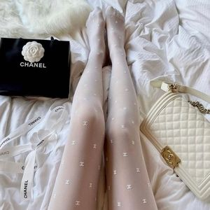 Chanel 2021 runway tights- white